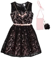 Beautees Belted Lace Dress with Necklace & Accessory Bag (Big Girls)
