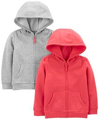 Carter's Simple Joys by Girls' Toddler 2-Pack Fleece Full Zip Hoodies