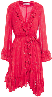 SUNDRESS Jasper Ruffled Embellished Metallic Gauze Mini Dress