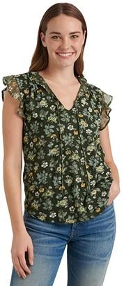 Lucky Brand Flutter Sleeve V-Neck Printed Tank Top (Olive Multi) Women's Clothing