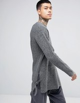 Asos Oversized Textured Sweater with Tab Details at Hem