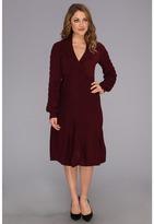 Nine West Long Sleeve Shawl Collar Panel Skirt Dress