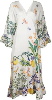 La DoubleJ Foliage Print Maxi Dress