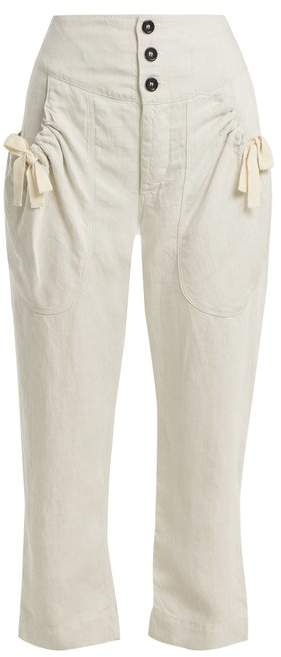 Etoile Isabel Marant Weaver High Rise Cropped Trousers - Womens - Cream