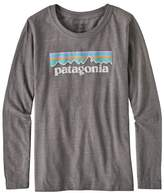Patagonia Girls' Long-Sleeved Pastel P-6 Logo Organic Cotton/Poly T-Shirt