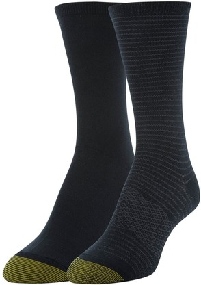 Gold Toe Women's Little Black Stripe & Flat Knit Crew Socks 2 Pairs Shoe Size: 6-9