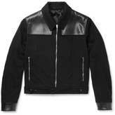Alexander McQueen Leather-Panelled Cashmere Blouson Jacket
