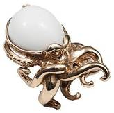 Octopus Bernard Delettrez bronze ring with white agate