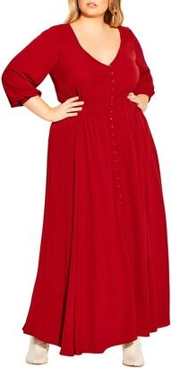 City Chic Desire Shirred Waist Button Front Maxi Dress