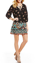 Takara Floral Border-Print Shift Dress