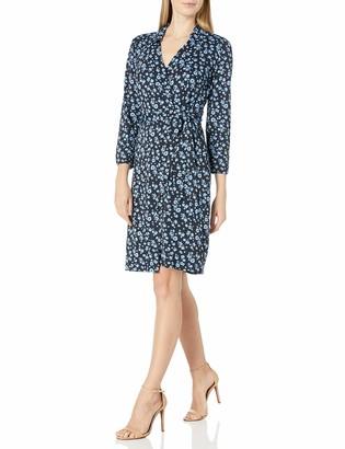 Lark & Ro Amazon Brand Women's Matte Jersey Collared V-Neck Long Sleeve Wrap Dress