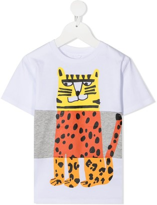 Stella McCartney Color Block T-shirt With Tiger Print