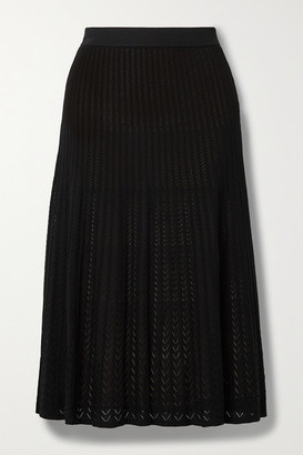 MICHAEL Michael Kors Ribbed Pointelle-knit Midi Skirt - Black