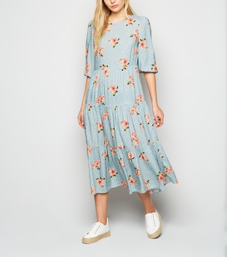New Look Spot Floral Puff Sleeve Tiered Midi Dress