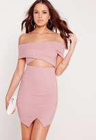 Missguided Ribbed Bardot Bodycon Dress Lilac