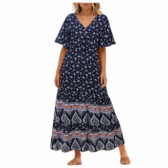 KPILP Vintage Dress for Womens Short Sleeve Floral Print V Neck Short Sleeve Ethnic Boho Casual Beach Holiday Fashion Maxi Dresses Ladies Evening Party Flowy Swing A-line Dress(Blue XL)