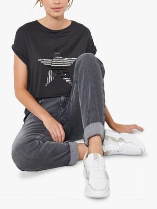Mint Velvet Star Motif T-Shirt, Dark Grey