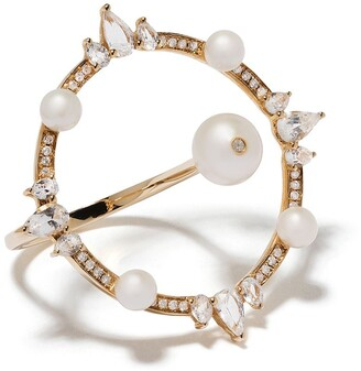 Anissa Kermiche 18kt Yellow Gold Large Circular Pearl, Diamond And Sapphire Ring