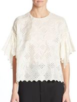 MS MIN Embroidered Silk Lotus-Sleeve Shirt