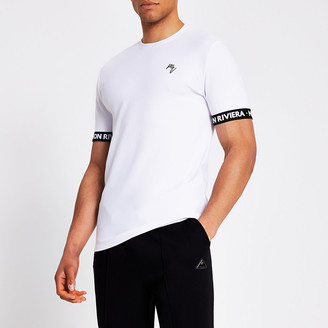 River Island Maison Riviera white tape T-shirt