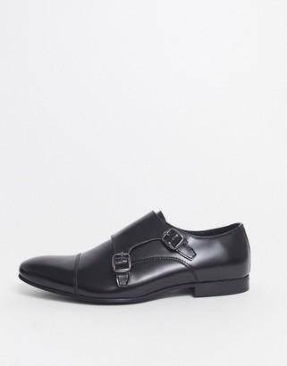 Walk London luca monk shoes in black high shine