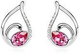 Miki&Co Silver Swarovski Elements Women's Crystal Swan Drop Teardrop Earrings, with a Gift Box