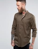 Asos Regular Fit Military Shirt Drape Fabric With Grandad Collar Longline In Khaki