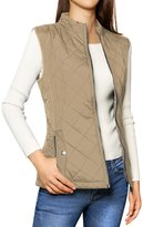 Allegra K Woman Zip Up Front Stand Collar Quilted Padded Vest S