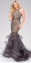 Jovani Embellished Tulle Sheer Back Mermaid Prom Gown