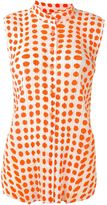 Pleats Please By Issey Miyake ribbed effect dots print shirt