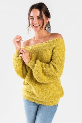 francesca's Bethanie Off The Shoulder Sweater - Green
