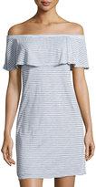 Velvet by Graham & Spencer Off-the-Shoulder Striped Dress, White
