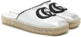 Gucci GG leather espadrille slippers