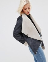 Brave Soul Faux Shearling Waterfall Front Jacket
