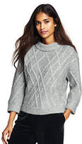 Lands' End Women's Alpaca Blend 3/4 Sleeve Sweater-Oatmeal Heather Lamb