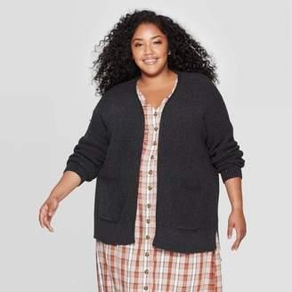 Universal Thread Women's Plus Size Long Sleeve Side Slit Open Layered Cardigan