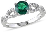 Allura .83 Count. T.W. Created Emerald and 1/10 Count. T.W. Diamond Engagement Ring in 10k White Gold