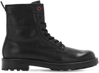 Diesel Leather Zip & Lace-Up Boots