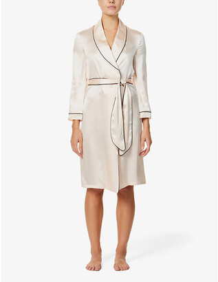 Agent Provocateur Contrast-piped silk-satin dressing gown