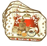 American Chateau Set of 12 Brown & Red Coffee Beans Table Cafe Kitchen Placemats