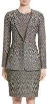 St. John Women's Aluna Speckled Chevron Tweed Knit Jacket