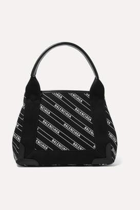 Balenciaga Cabas Xs Aj Leather-trimmed Printed Canvas Tote - Black