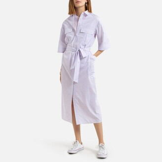 La Redoute Collections Midaxi Shirt Dress in Finely Striped Print with 3/4 Length Sleeves