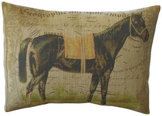 "Polkadot Apple Pillows French Horse Burlap Pillow, 12""x16"""