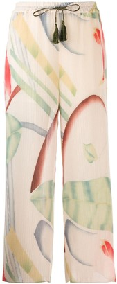 Etro Micro-Pleated Palazzo Trousers