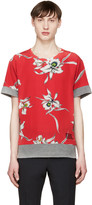 Valentino Grey and Red Flower T-shirt