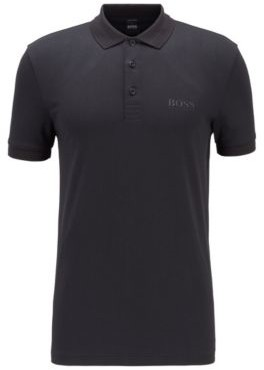 HUGO BOSS Polo shirt in S.Cafe fabric with tonal animal print