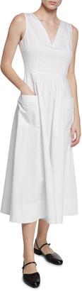 Co Sleeveless V-Neck Cotton Dress w/ Pockets