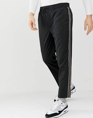 New Look chinos with side stripe in black