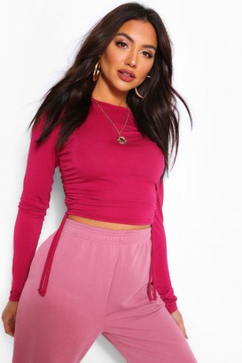 boohoo Crew Neck Ruched Side Long Sleeved Top
